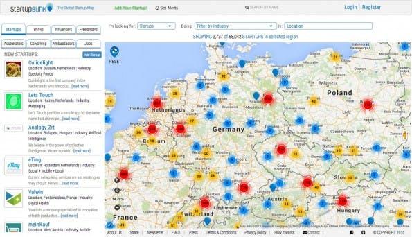 StartupBlink: Website zeigt Startups, Accelerators und mehr auf einer Karte an. (Screenshot: StartupBlink)