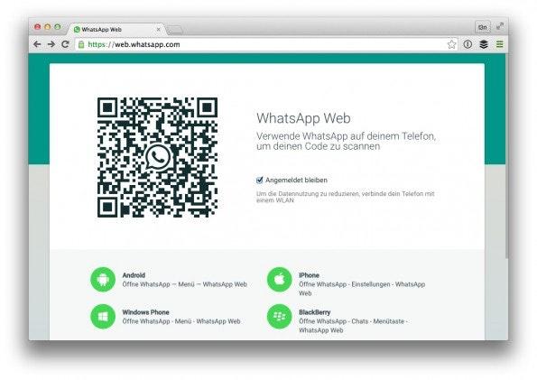 Nutzer synchronisieren WhatsApp-Web per QR-Code mit ihrer Smartphone-App. (Screenshot: WhatsApp/ t3n)