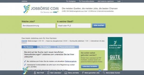 Schon kurz nach der Übernahme ist Jobbörse.com als Service von Xing gelabelt. (Screenshot: Jobbörse.com)