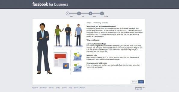 Anleitung zur Anmeldung des Facebook-Business-Managers. (Screenshot: Facebook for Business)