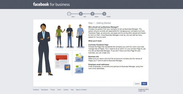 Anleitung zur Anmeldung des Facebook-Business-Managers. (Screenshot: Facebook for Business)