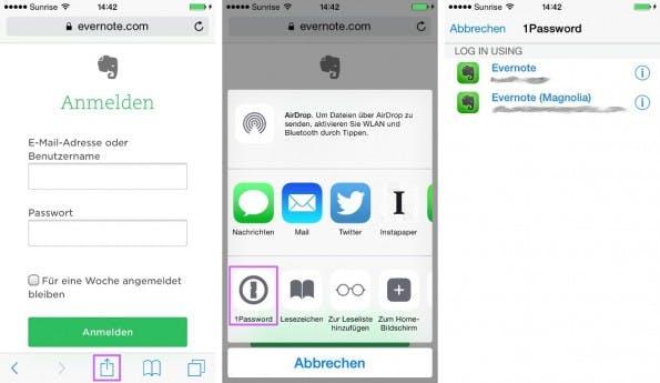 Eine App ruft eine andere auf: Einfüllen der Login-Daten auf einer Webseite (iOS). (Bild: Andreas Weder)