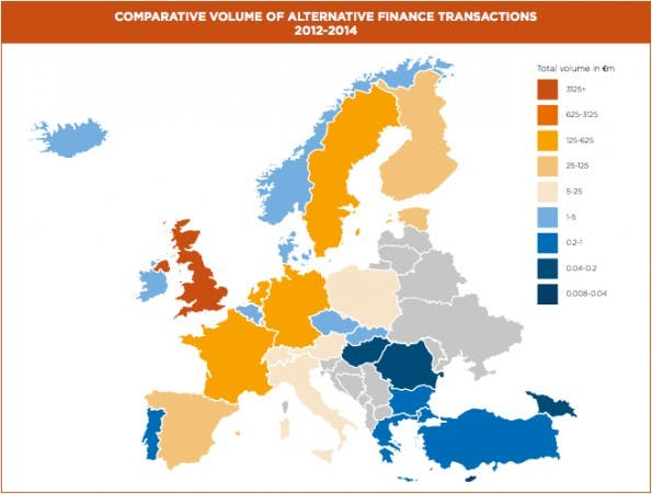 Gesamtvolumen des alternativen Finanzmarktes in Europa. (Grafik: University of Cambridge)