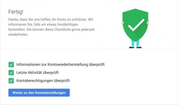 Der Google-Sicherheitscheck: Wenn ihr dieses Logo seht, habt ihr den Check abgeschlossen (Screenshot: google.com)