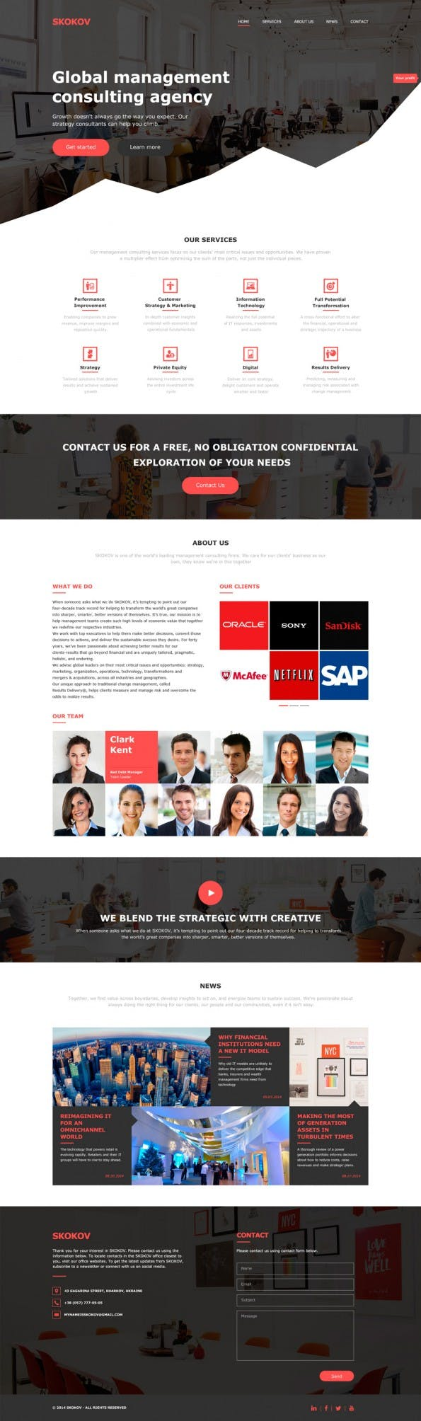 SKOKOV Profit — Free Business PSD Template - Web-Templates