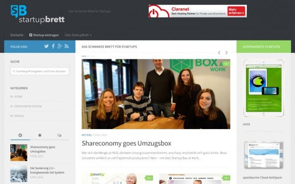 Die Startseite von StartupBrett.de zeigt Gastbeiträge prominent an.