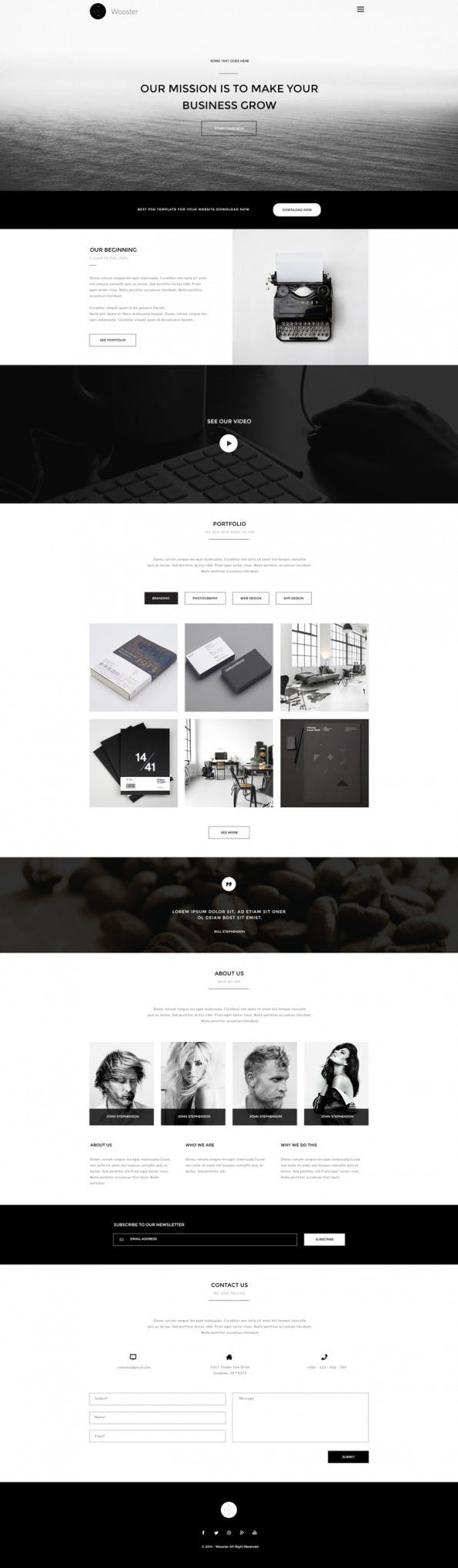 Wooster - Vintage Single Page PSD Theme - Web-Templates