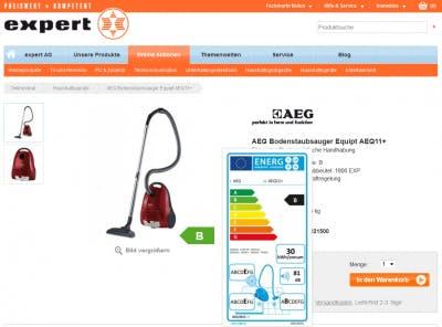 Vom Pfeil zum Label - die Umsetzung der Energielabel-Verordnung bei expert.de (Screenshot: expert.de)