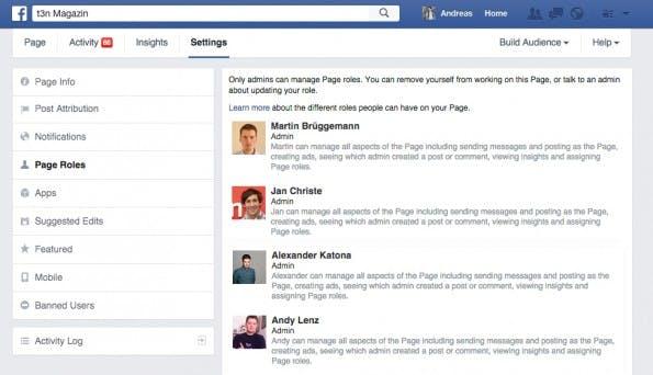 Der Adminbereich von Facebook-Seiten. (Screenshot: t3n.de)