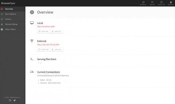 BrowserSync Web Interface