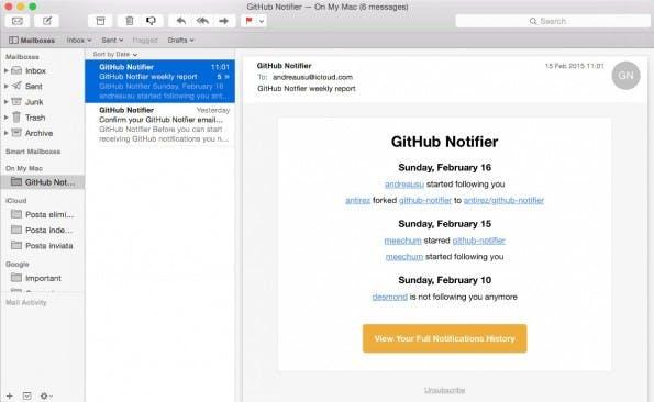 Der GitHub-Notifier informiert euch per E-Mail über alle wichtigen Ereignisse. (Screenshot: GitHub-Notifier)