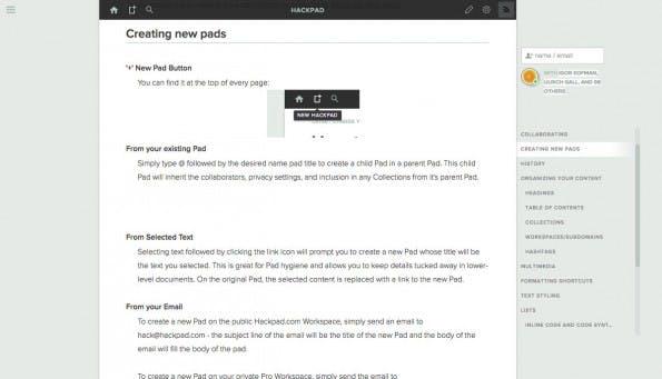 HackPad ist eine Art Echtzeit-Wiki für Teams. (Screenshot: HackPad)