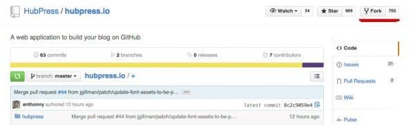 Zunächst müsst ihr das HubPress-Repository forken. (Screenshot: GitHub)