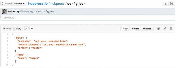 Bloggen mit HubPress: Jetzt müsst ihr lediglich diese JSON-Datei anpassen und schon könnt ihr loslegen.
