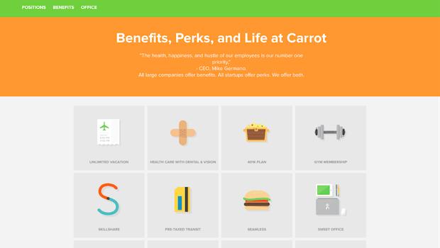 Benefits und Perks – das interessiert die Generation Y heutzutage oft mehr als das Gehalt. Carrot informiert Bewerber deshalb im Memory-Stil über die vielen Vorteile. (Screenshot: t3n.de)