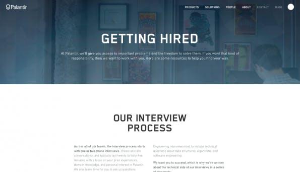 Weniger verspielt, dafür ungewöhnlich informativ: Palantir gibt Bewerbern Tipps für den Erfolg im Jobinterview. (Screenshot: t3n)