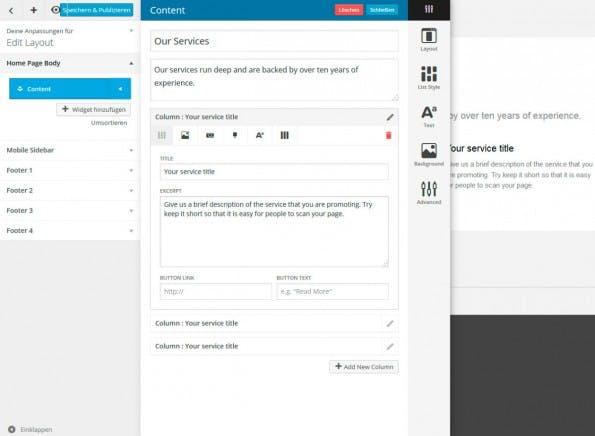 Umfangreiche Einstellungsmöglichkeiten in der Detailansicht der Widgets. (Screenshot: eigene WordPress-Installation)