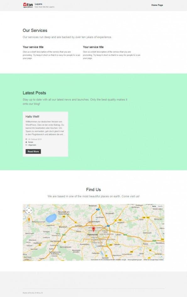 Ein erstes Ergebnis mit Layers. (Screenshot: eigene WordPress-Installation)