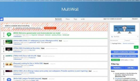/r/MultiWall: Auch auf Reddit findet ihr schicke Desktop-Hintergründe für euer Dual-Monitor-Setup. (Screenshot: Reddit)