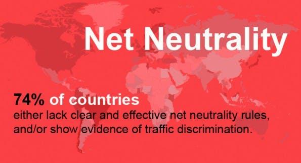 """Der """"2014 Web Index"""" macht deutlich, dass 74 Prozent der beobachteten Länder keine Regeln zur Netzneutralität haben. (Screenshot: 2014 Web Index)"""