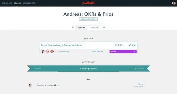 Dashboard-Übersicht von Punchtime: Neue Aufgaben können zeitlich erfasst werden. (Screenshot: t3n.de)