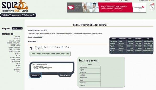 SQLZoo bietet interaktive Tutorials zum Erlernen von SQL. (Screenshot: SQLZoo)