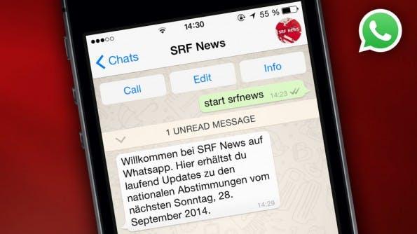 Unter anderem der SRF bietet ein WhatsApp-Abo für Nachrichten. (Bild: SRF)
