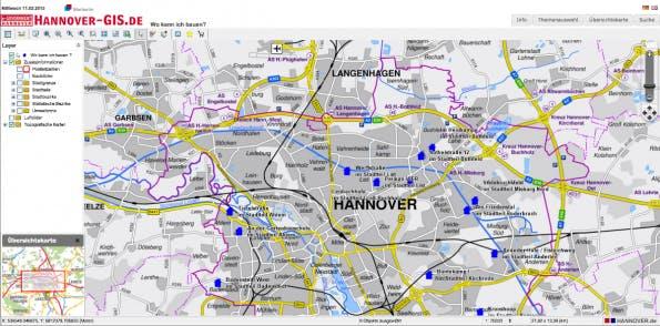 Der Baugebiets-Finder der Stadt Hannover. (Screenshot: hannover-gis.de)