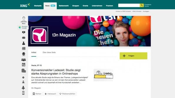 Xings neue News-Seiten. (Screenshot: Xing.de)