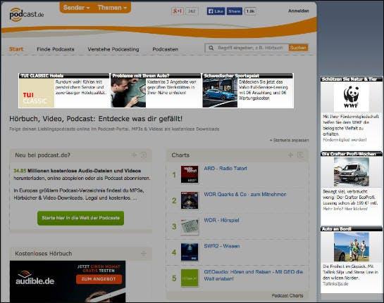 Werbung, die Tisoomi bei Podcast.de eingebunden hat (Screenshot: podcast.de)