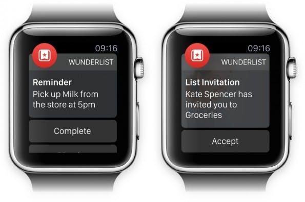 So sieht die To-Do-App Wunderlist auf der Apple Watch aus. (Grafik: Wunderlist)