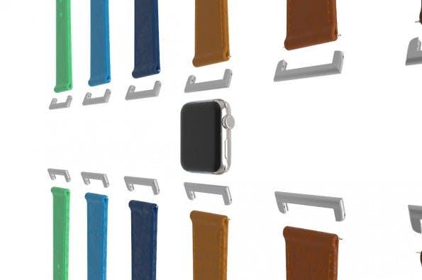 Mit Click könnt ihr herkömmliche Uhrenarmbänder mit der Apple Watch verwenden. (Grafik: Click)