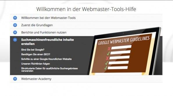 Im Hilfe-Bereich der Google-Webmaster-Tools bekommt ihr alle Informationen zu suchmaschinenfreundlichen Inhalten – hier allerdings mit Googles Segen. (Screenshot: googlewebmastercentral-de.blogspot.de)