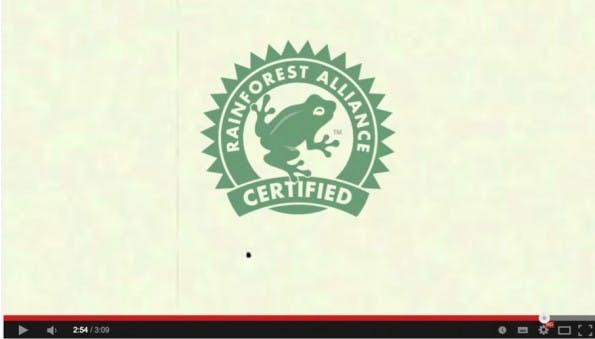 """Ein lustiges Beispiel liefert die Umweltorganisation Rainforest-Alliance mit dem viralen Video """"Follow the Frog"""". Mit einer ordentlichen Portion schmerzhafter Satire konfrontiert uns das Video und appelliert ganz nebenbei an die eigene Initiative. Das bleibt im Gedächtnis. (Screenshot: youtube.com)"""