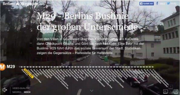 """Eine wirklich wundervolle Idee der Berliner Morgenpost. Der Beitrag """"M29 – Berlins Buslinie der großen Unterschiede"""" untermalt Wählerstatistik, Migrationshintergrund, Altersdaten, Arbeitslosenzahlen und andere Statistiken mit einer Busfahrt durch Berlin. Menschen in Vierteln mit geringer Arbeitslosenzahl wählen eher CDU und leben in vergleichsweise teuren Häusern. Diese Viertel verzeichnen aber auch mehr Einbrüche. Das kann man alles auf der Busfahrt """"sehen"""". Datenjournalismus meets Reportage. (Screenshot: morgenpost.de)"""