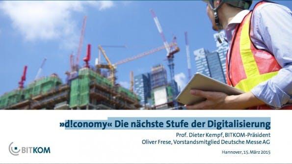 """""""»d!conomy« Die nächste Stufe der Digitalisierung"""": Wie sehen deutsche Unternehmen die Digitalisierung? (Screenshot: bitkom.org)"""