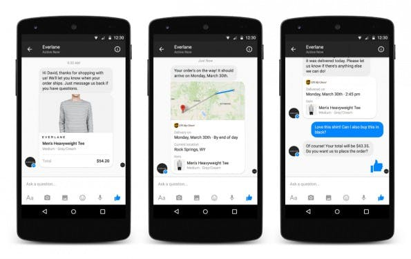 Facebook öffnet den Messenger für E-Commerce. (Screenshot: Facebook)