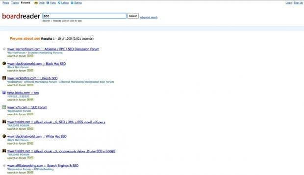 Boardreader: Die Google-Alternative für Foren-Junkies. (Screenshot: Boardreader)