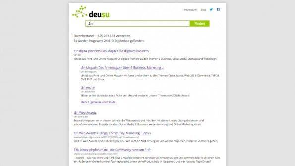 DeuSu: Die Open-Source-Suchmaschine wird in Eigenregie von einem Entwickler betreut. (Screenshot: deusu.de)