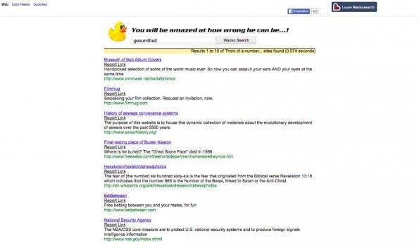 Wacko Search ist wohl eher eine Google-Parodie statt einer echten Alternative. (Screenshot: wackosearch.com)
