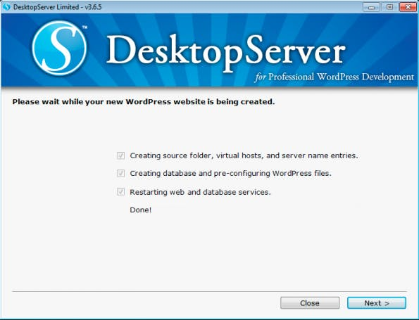 Ein schneller Weg, WordPress lokal zu installieren – allerdings nicht in der aktuellsten Version. (Screenshot: eigene DesktopServer-Installation)