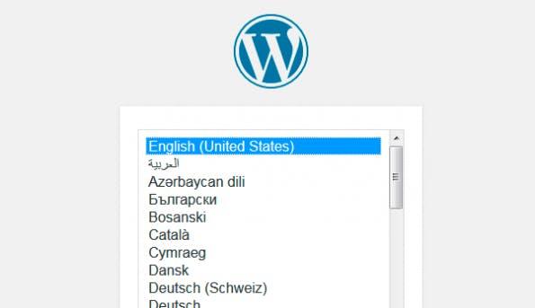 Das erste Lebenszeichen von WordPress ist die Sprachauswahl. (Screenshot: eigene WordPress-Installation)