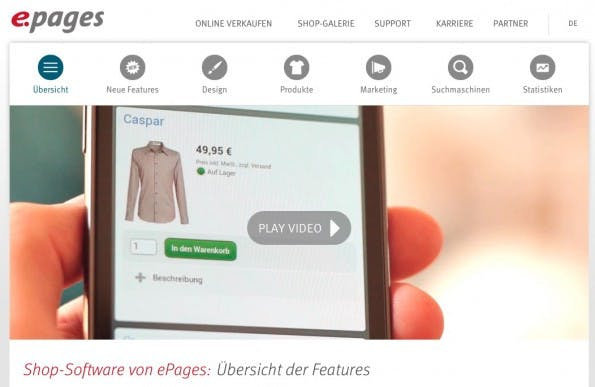 (Screenshot: epages.com)