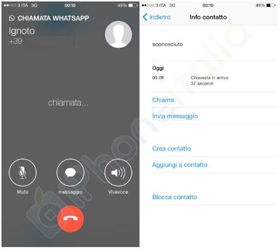 Telefonieren per Whatsapp ist auch am iPhone möglich. (Screenshot: iphoneitalia.com)
