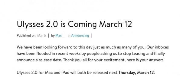 Ulysse 2.0 erschint am 12. März 2015 (Screenshot: ulyssesapp.com/blog)