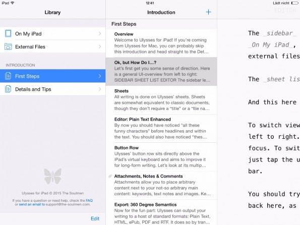 Wer Ulysses III vom Mac kennt, findet sich im Layout von Ulysses 2.0 sofort zurecht – selbst auf dem iPad. (Screenshot: ulyssesapp.com)