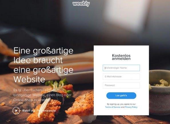 (Screenshot: weebly.com)