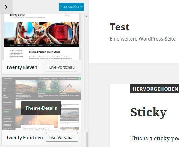 Mit WordPress 4.2 wird es möglich, Themes im Customizer zu wechseln. (Screenshot: eigene WordPress-Installation)