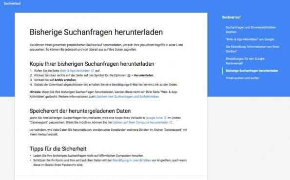 Google-Suchverlauf: Kompletter Download möglich. (Screenshot: Google)