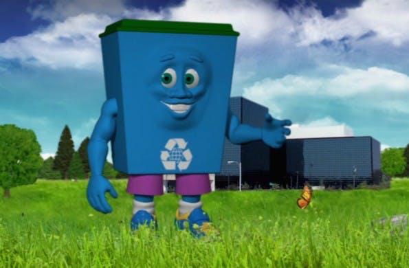 """NSA-Maskottchen """"Dunk"""" macht sich für Recycling stark. (Screenshot: NSA)"""